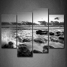 Wall Art Black And White Sea Wave Rush Into Stone Canvas Painting Pictures Print