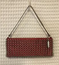 Whiting & Davis Handbag Red Satin Silvertone Chain Mail Baguette Cocktail Purse