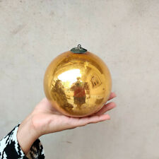"Antique German Kugel 5"" Golden Round Christmas Ornament Original Old Collectible"