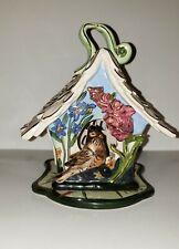 Blue Sky Clayworks 2002 Heather Goldmine Bird House With Gold Trim