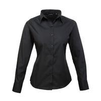 Premier Women's Poplin Long Sleeve Blouse Black UK Size 12/Medium VR25 07