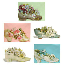 30 Shoes & Boots filled with Flowers, Die-cut Blank Greetings Cards EC0002