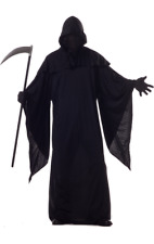 Mens Grim Reaper Robe Halloween Horror Fancy Dress Costume