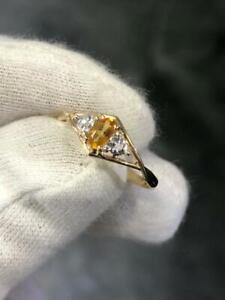 14k Yellow Gold Diamonds & Citrine Marquis Petite Stone Band Ring Sz 7 Hand Made