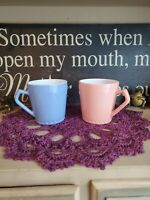 Hazel Atlas Milk Glass Pink & Blue Baby Kids Child's Mugs Vintage Kiddie Cups
