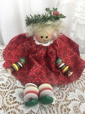 Vintage Button Wooden Doll Christmas Red Green Wreath Holly Dress Hand Made Ooak