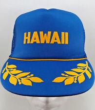 d6576e0c782 Vintage Hawaii Trucker Cap Hat Snapback Blue Mesh Gold Leaf Hawaiian