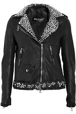 BALMAIN CHRISTOPHE DECARNIN SPIKE& CRYSTAL RHINESTONE EMBELLISHED LEATHER JACKET