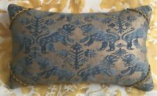 """Fortuny """"Rechelieu"""" Scented Feather Pillow Blue & Gold Straw Velvet Back"""