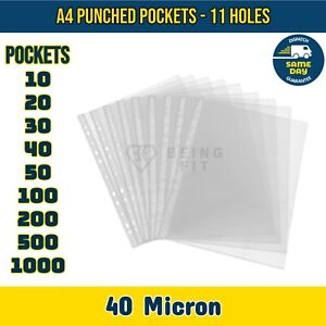 Punched Pockets A4 Clear Plastic 40 Micron Filing Wallets Protective Sleeves 11