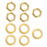 5x Iron Jack Socket Nuts + Washers Gold for Electric Guitar Replacements