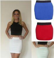 Womens Elasticated Waist Ladies Stretch Pencil Bodycon Plain Short Mini Skirt sw
