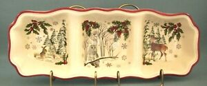 Better Homes & Garden Heritage Collection Divided Relish Dish Winter Forest