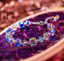 "Aurora Borealis Bracelet With Crystals 18K White Gold Adjustable 7"" to 9"""