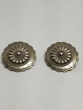 Southwestern Look Silver Tone Pierced Earrings Vintage JJ Jonette Jewelry