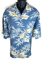 Tommy Bahama Mens Shirt Size L Large Silk Blue Camp Short Sleeve Button Aloha