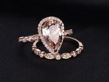 Solid 14K Rose Gold 3.00 ct Pear Cut Morganite Bridal Set Engagement Ring Band