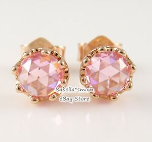 PINK SPARKLING CROWN Authentic PANDORA Rose GOLD Plated STUD Earrings 288311C01