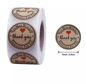 """100 High Quality PVC 1"""" Round Kraft Thank You Stickers Hand Made With Love"""