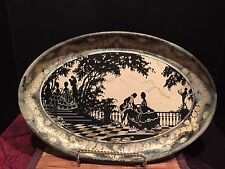 Vintage Metal Black Gold White Decorative Platter Courting Couple Outdoor Scene