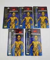 Vintage 1983 STAR WARS Return of the Jedi Markers MOC C3PO Card Graphics x5 Lot