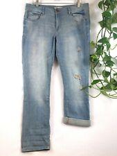 CAbi High Straight Light Blue Wash Distressed Denim Jeans Size 8 - Cute Cuffed!