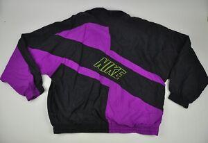 Vtg NIKE Black Tag WINDBREAKER Jacket PURPLE Yellow NYLON Colorblock Full Zip XL