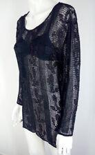 Luxus Damen Top gr 46 offenes Netz schwarz Strass Made in Italy UVP 250 VIDEO ❤️