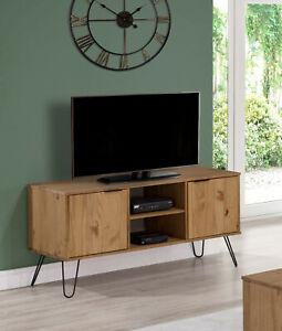 Waxed Pine Retro 2 Door TV Media Cabinet Unit Stand Sideboard Metal Hairpin Legs