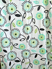 POTTERY BARN TEEN MOD FLORAL ORGANIC COTTON SHOWER CURTAIN  BLACK TURQUOISE