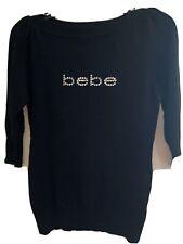 Bebe Rhinestone Soft Sweater W Boatneck 3/4 Sleeves