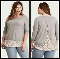 NWT Torrid Women's Plus Size 2 2X Floral Knit Layered Sweater (#29)