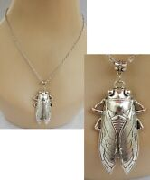 Cicada Bug Pendant Necklace Jewelry Silver Handmade NEW Women Chain Insect