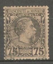 "MONACO STAMP TIMBRE N° 8 "" PRINCE CHARLES III 75c 1885 "" OBLITERE SIGNE"
