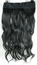 "JET BLACK 5 Clip One Piece Ondulata Riccia Lunga 22"" CLIP IN ON Hair Extension NUOVO"