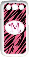 One Initial Curlz Monogram Pink and Black Zebra Design on Samsung Galaxy S3 Case