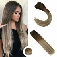 Ugeat Micro Beads Weft Human Hair Extension Balayage Brown to Blonde 3/8/22# 50g