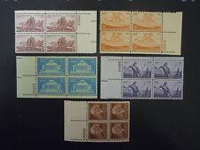 1954 Plate Block Set Complete 1029/1063 5 Blocks  MNH OG