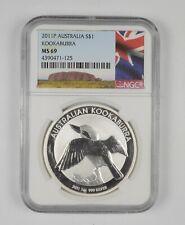 MS69 2011-P Australia 1 Dollar - Silver Kookaburra - Graded NGC *328