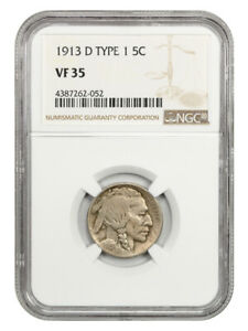 1913-D 5c NGC VF35 (Type 1) Buffalo Nickel