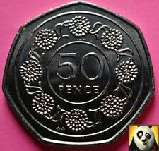 1988 GIBRALTAR 50p Fifty Pence Candytuft Flower AA Die Mark Unc Coin