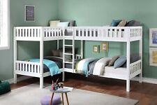 Cool White Space Saving Corner Four (4) Bunk Bed Bedroom Furniture Set Sale