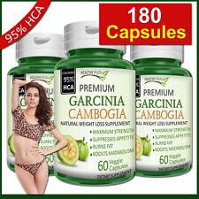 180 Capsules GARCINIA CAMBOGIA 95% HCA Fat Burn Diet Slim Weight Loss Natural
