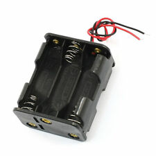 15cm Leads Dual Layers Black Plastic 6 x 1.5V AA Battery Case Holder