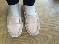 tod's beige leder ballerinas mokassins driving shoes sz 36 1/2 uk 3.5 us 6.5