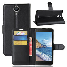 Custodia FLIP cover NERA per Wiko Harry case stand eco pelle+tasche BOOKLET
