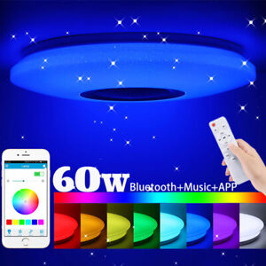 60W RGB LED Ceiling Light Bluetooth Speaker Music Lamp Dimmable APP Remote Round