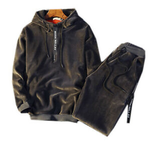 Men Velour Hoodies TrackSuit Sport Jacket Coat Velvet Suit Trousers Pants Outfit