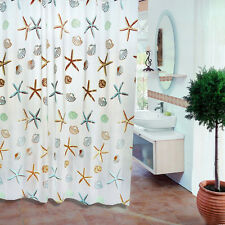 Bathroom Decorative Waterproof Shower Curtain Starfish Pattern with 12 Hooks