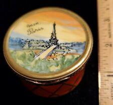 Beautiful Limoges France Peint Main Trinket Box Red Gold Drum Shape Eiffel Tower
